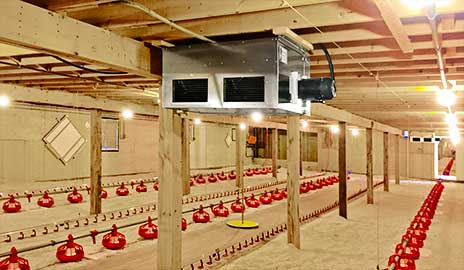 Air heater installed in poultry house